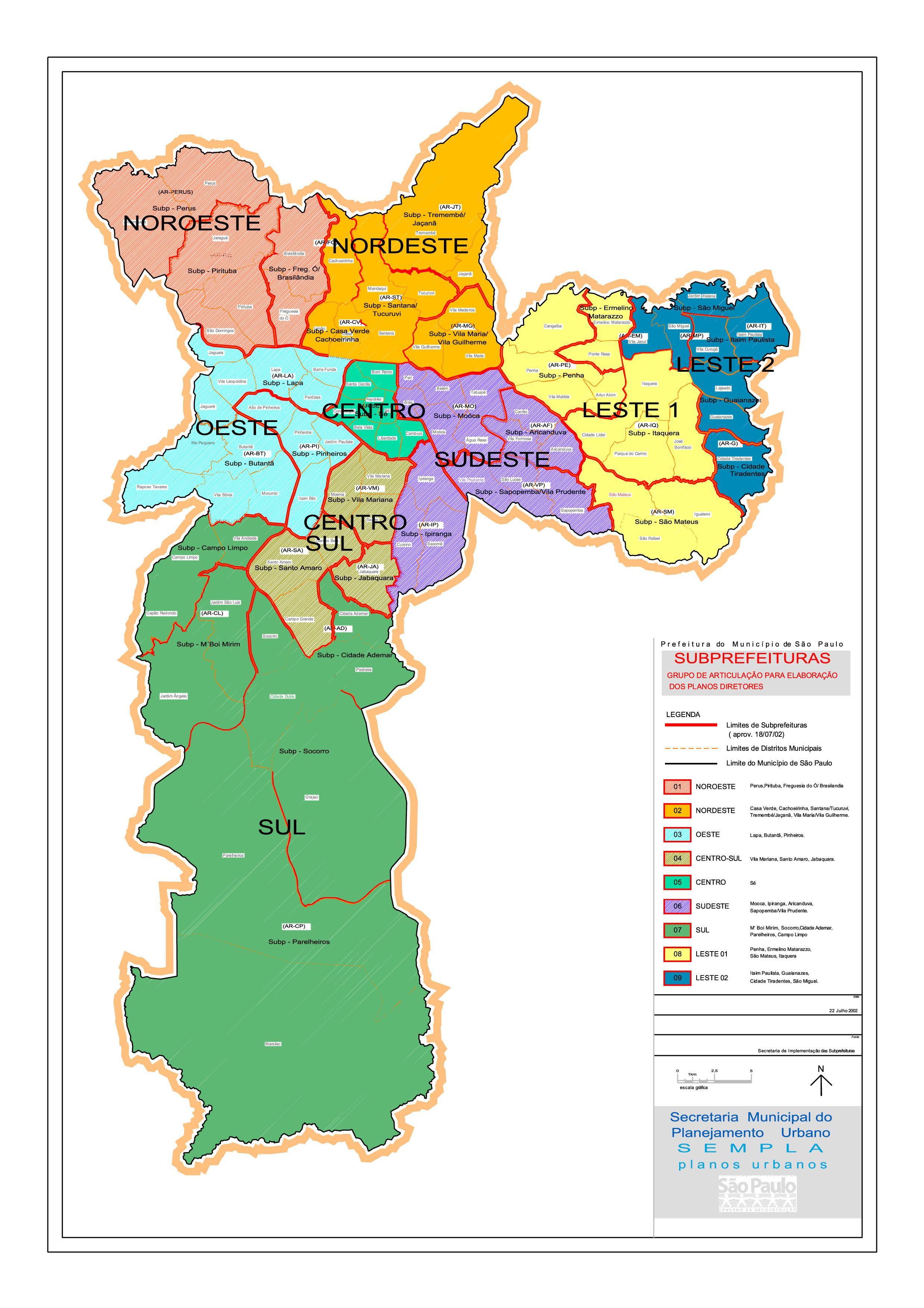 Regionen São Paulo-map - Karte der Regionen São Paulo (Brasilien)