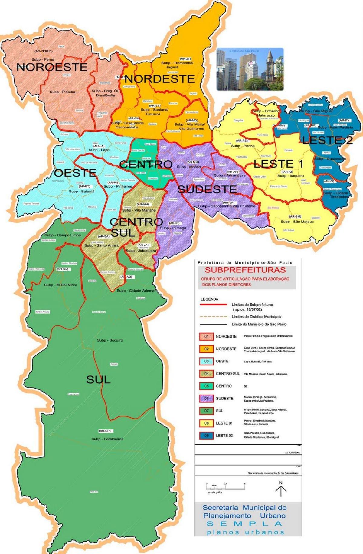 Zonas São Paulo-map - Karte von zonas São Paulo (Brasilien)